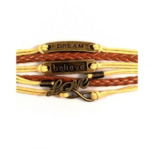Armbandenset dream believe love infinity